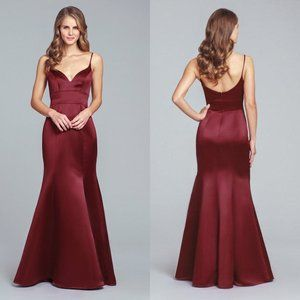 Hayley Paige Occasions burgundy trumpet maxi gown